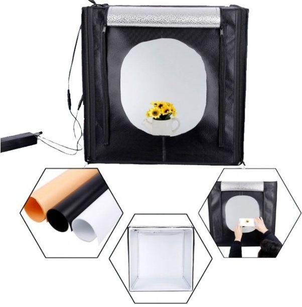 Φορητό αναδιπλούμενο φωτογραφικό στούντιο με φως LED και τριπλό φόντο 60 x 60x60cm