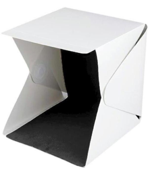 Μίνι φορητό αναδιπλούμενο φωτογραφικό στούντιο με φως LED και διπλό φόντο 30 x 30 x 30cm
