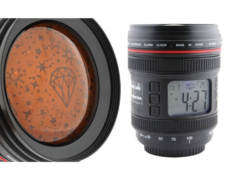 Ψηφιακό ρολόι με φωτιστικό δωματίου σε στυλ φακού κάμερας
