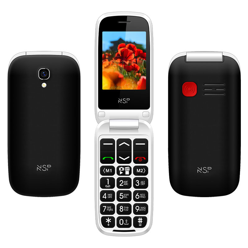 "NSP 2300DS FLIP 2.4"" DUAL SIM 2G 32MB/32MB RADIO-MP3/MP4 SOS BUTTON BLACK + HANDS FREE"