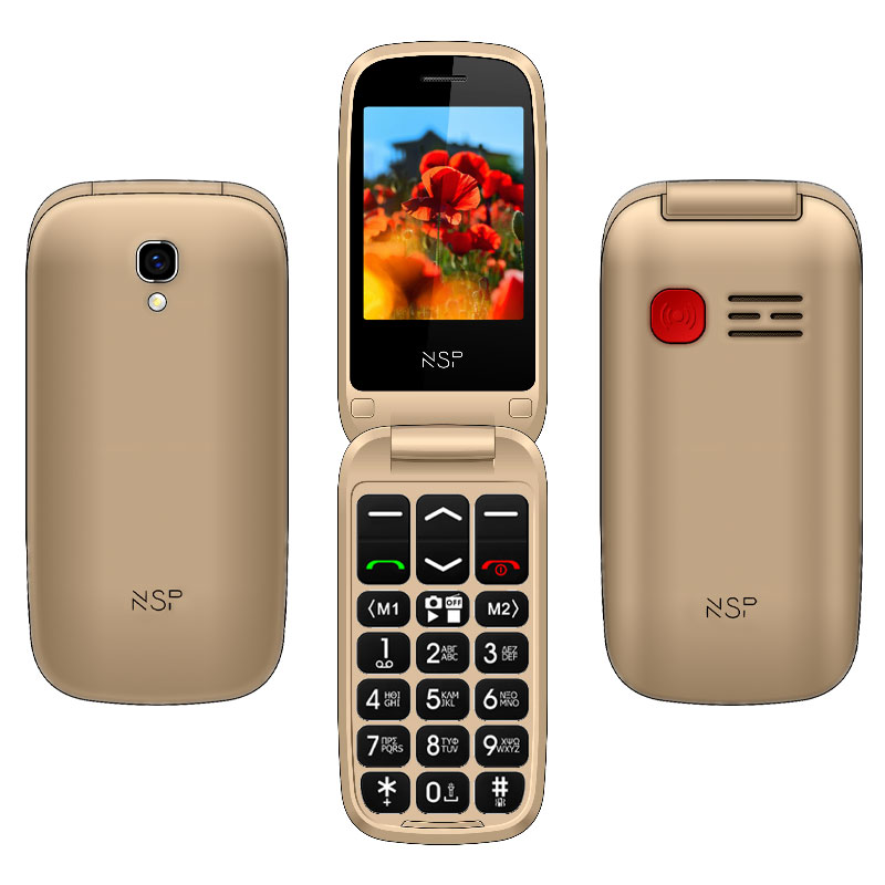"NSP 2300DS FLIP 2.4"" DUAL SIM 2G 32MB/32MB RADIO-MP3/MP4 SOS BUTTON GOLD + HANDS FREE"