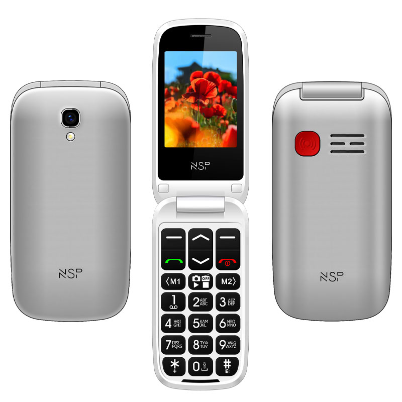 "NSP 2300DS FLIP 2.4"" DUAL SIM 2G 32MB/32MB RADIO-MP3/MP4 SOS BUTTON SILVER + HANDS FREE"