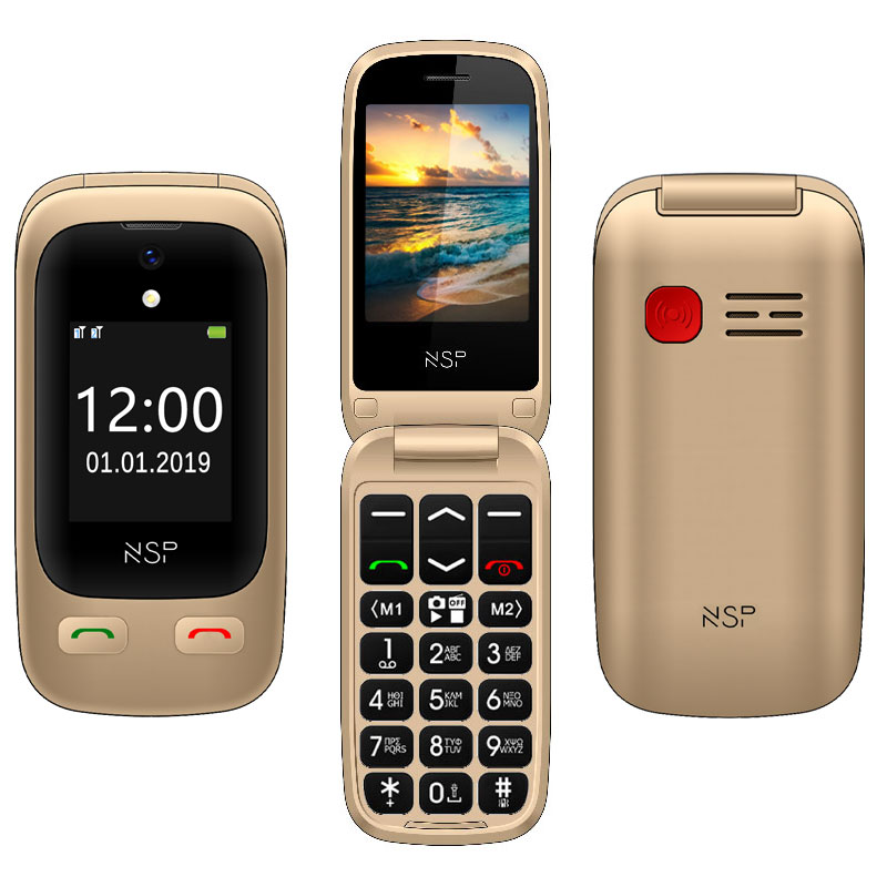 "NSP 2500DS FLIP 2.4""+1.8"" DUAL SIM 2G 32MB/32MB RADIO-MP3/MP4 SOS BUTTON GOLD + HANDS FREE"