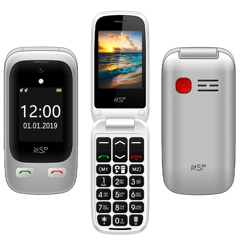 "NSP 2500DS FLIP 2.4""+1.8"" DUAL SIM 2G 32MB/32MB RADIO-MP3/MP4 SOS BUTTON SILVER + HANDS FREE"
