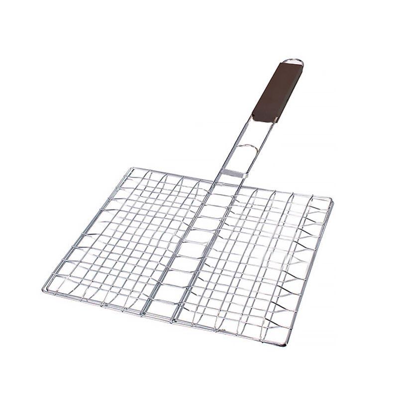 Διπλή τετράγωνη σχάρα ψησίματος με ξύλινη λαβή (25x25εκ.) - JY12A - 24937