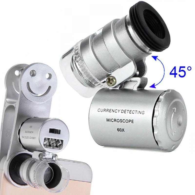 Φακός - μικροσκόπιο με κλιπ για το κινητό με 2 LED και UV - ΟΕΜ 25134 [Ασημί]