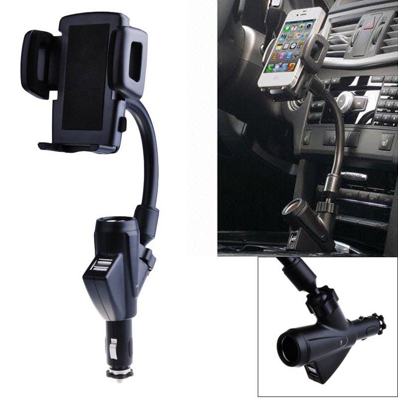 Βάση στήριξης κινητού/GPS στον αναπτήρα αυτοκινήτου με διπλό φορτιστή USB - OEM 25249