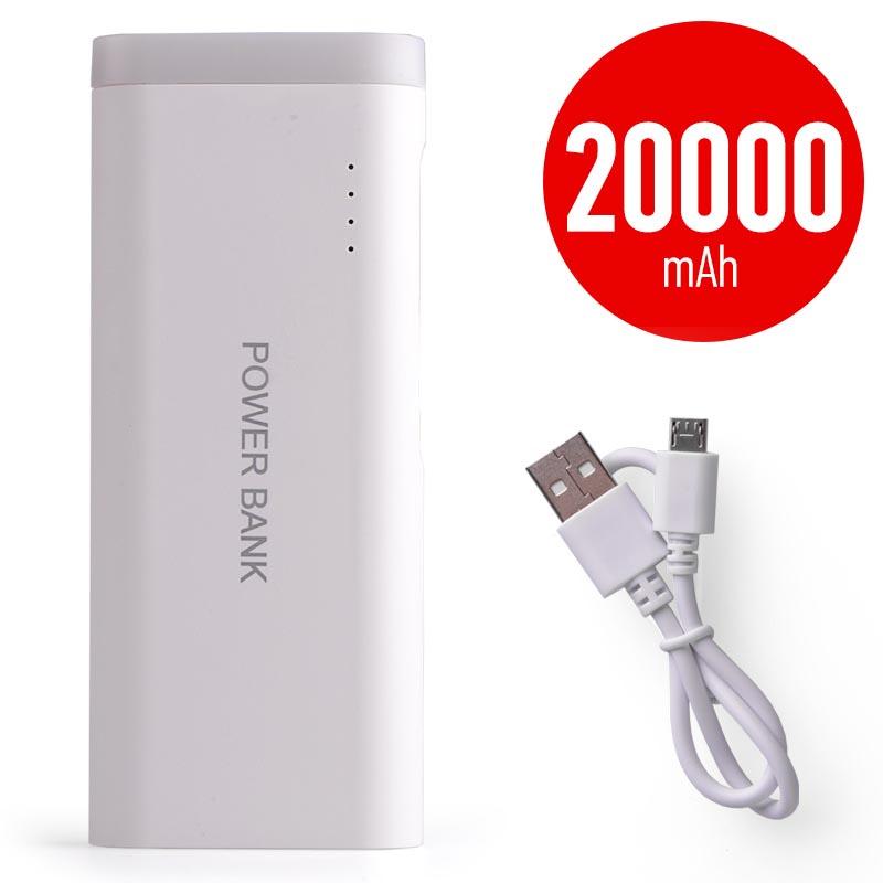 Power bank 5V/20000mAh με 2 θύρες USB και φακό - Λευκό - ΟΕΜ 25676