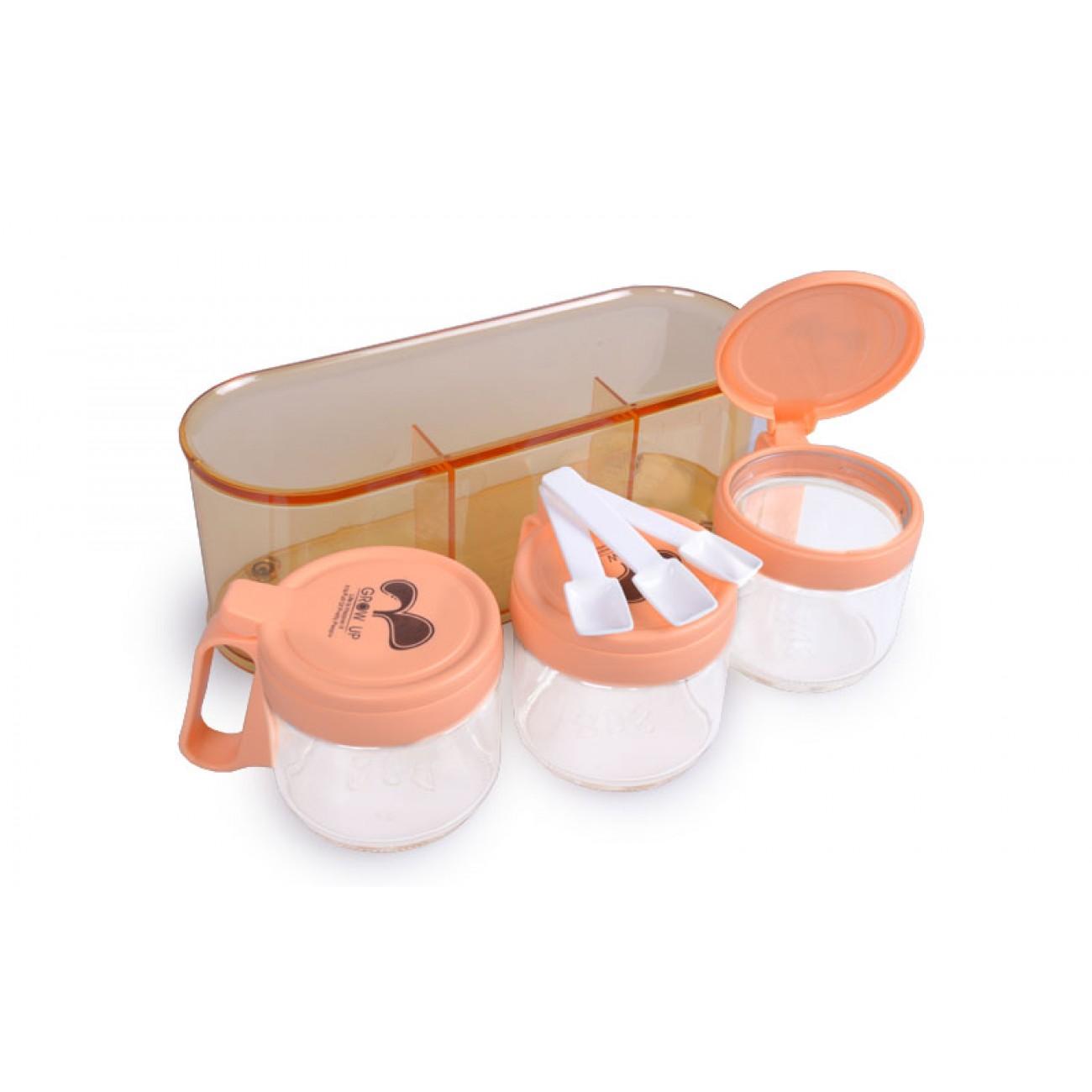 Σετ 3 βαζάκια μπαχαρικών - Πορτοκαλί - ΟΕΜ 33686