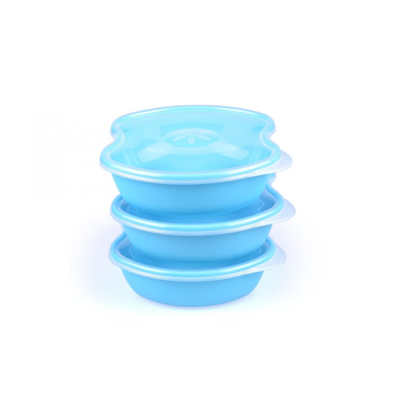 Σετ 3 τάπερ με εύκολο άνοιγμα - 18x15x5.5cm - Γαλάζιο - ΟΕΜ 34062