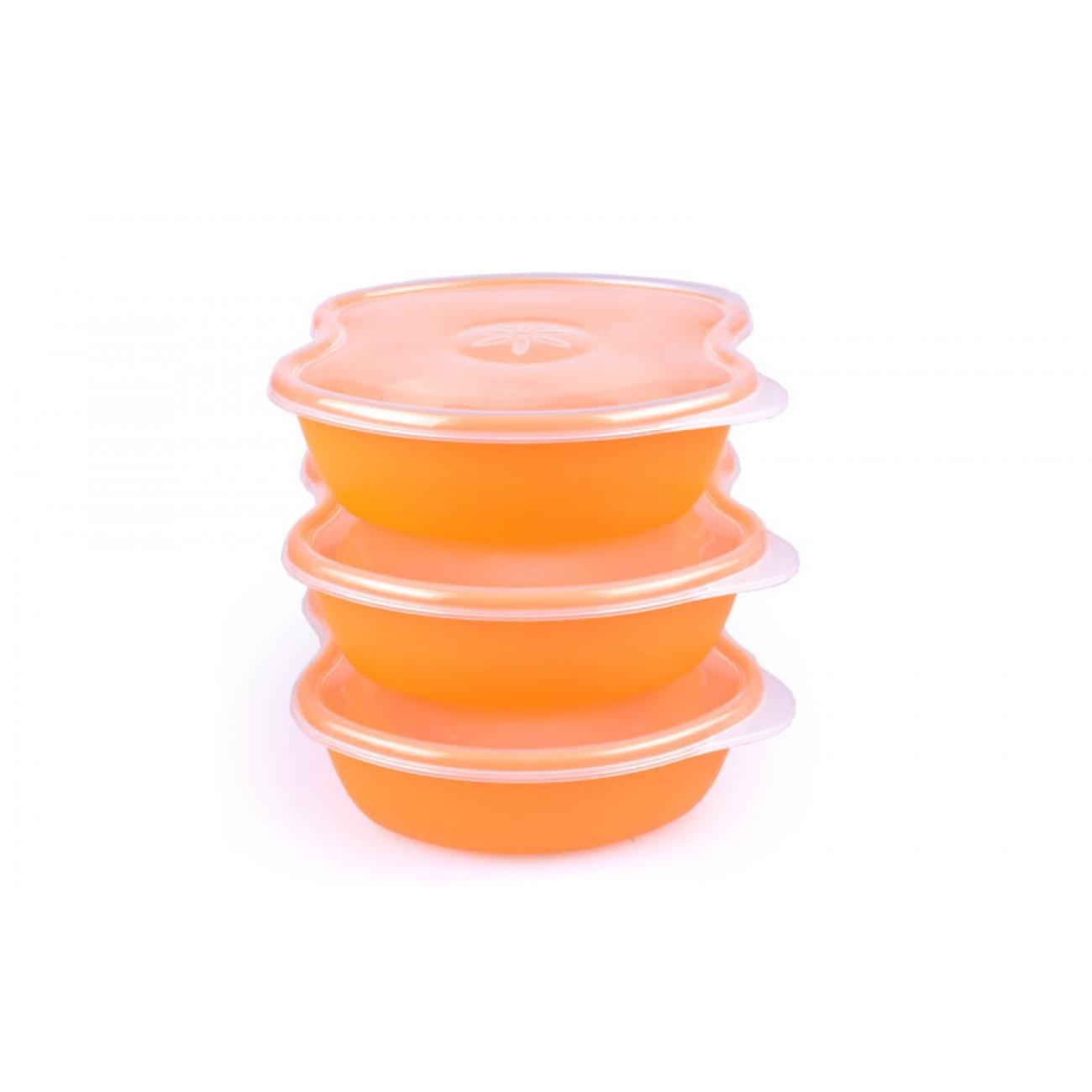 Σετ 3 τάπερ με εύκολο άνοιγμα - 14x12x4cm - Πορτοκαλί - ΟΕΜ 34120