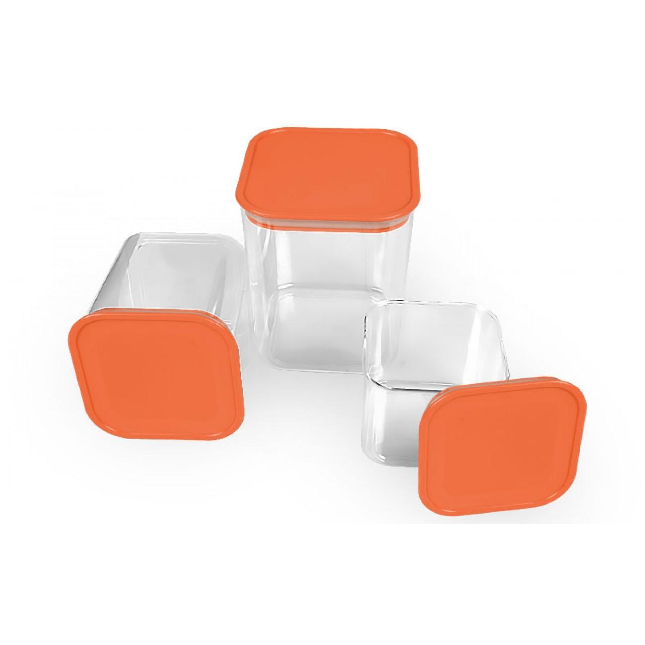 Σετ 3 τετράγωνα δοχεία αποθήκευσης - Πορτοκαλί - OEM 34436