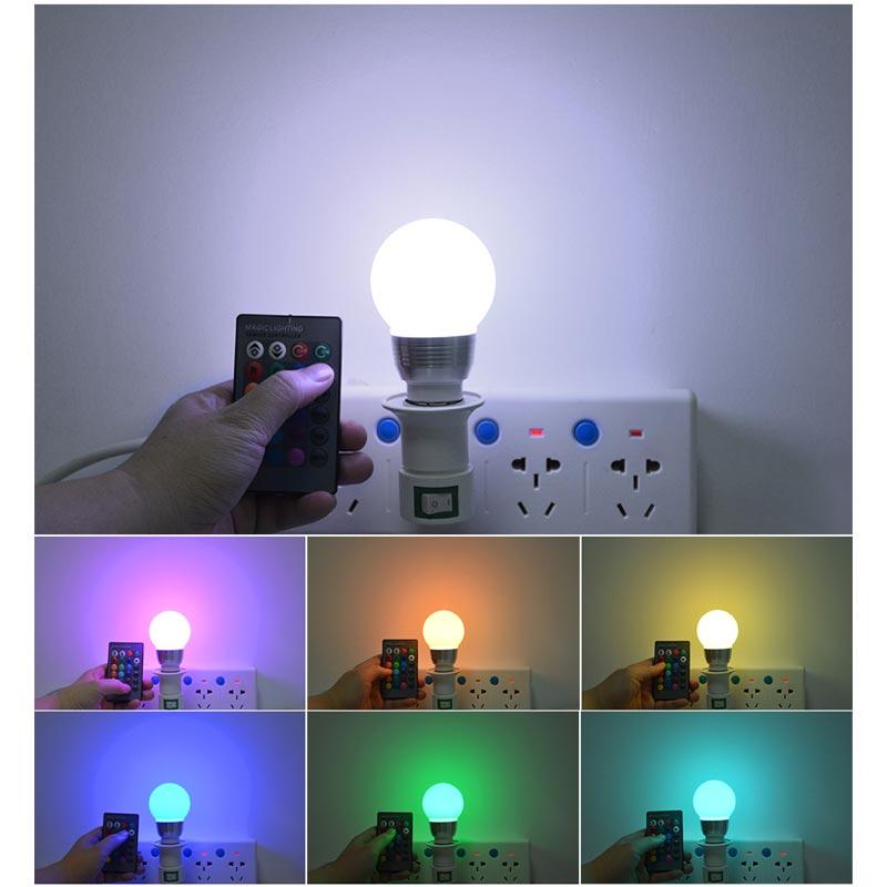 Βιδωτή λάμπα LED RGB E27/5W που αλλάζει 16 χρώματα με τηλεχειριστήριο - OEM 49162