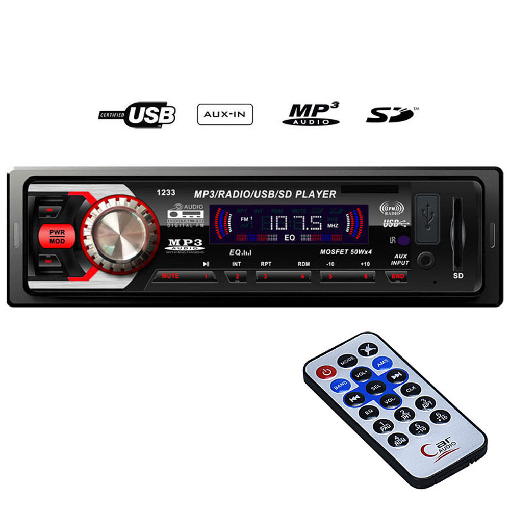 Mp3 player αυτοκινήτου με είσοδο USB/SD/AUX, ραδιόφωνο και χειριστήριο – 1233 - OEM 51099
