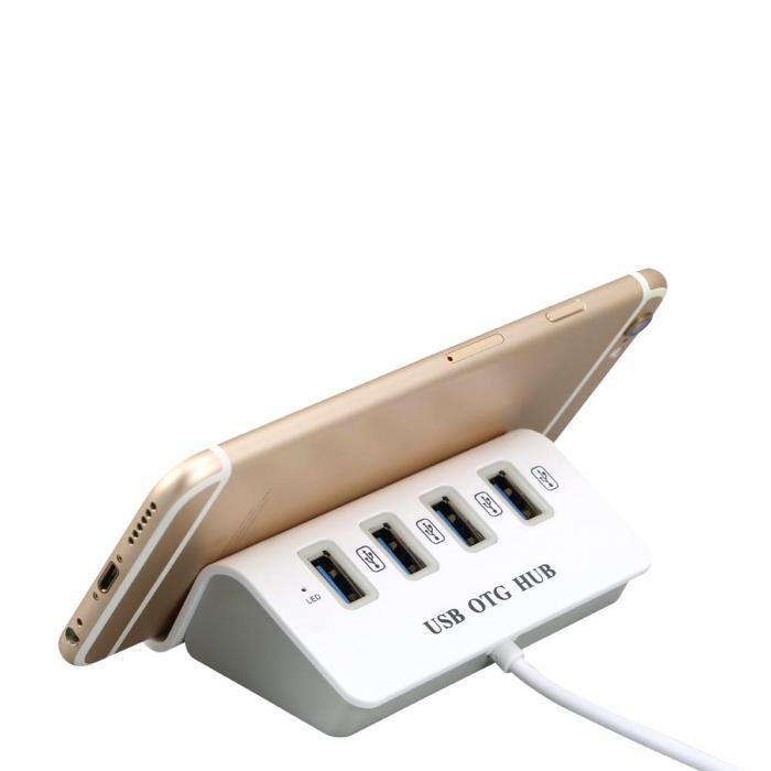 USB 2.0 Hub OTG με microUSB & 4 θύρες USB 3.0 - ΟΕΜ 51129
