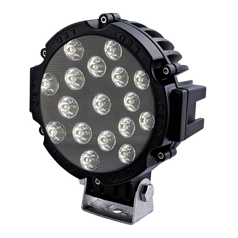"""Αδιάβροχος προβολέας αυτοκινήτου 4Χ4 με LED 7"""" - 51W/12~24V με ψυχρό φως - OEM 51463 [Μαύρο]"""