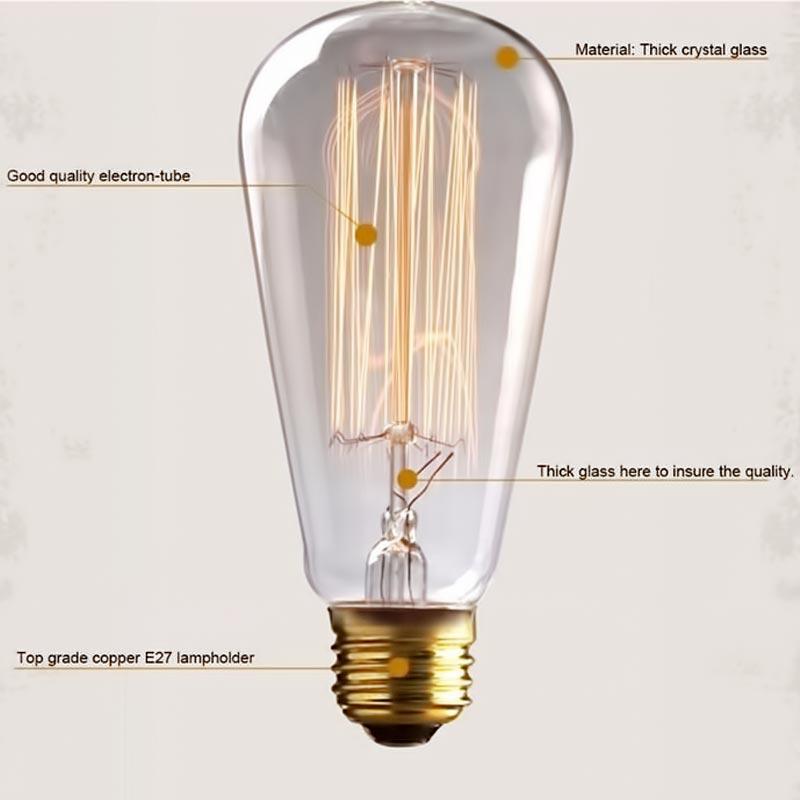 Βιδωτή ρετρό λάμπα Edison 40W/E27 με θερμό φωτισμό - OEM 51520