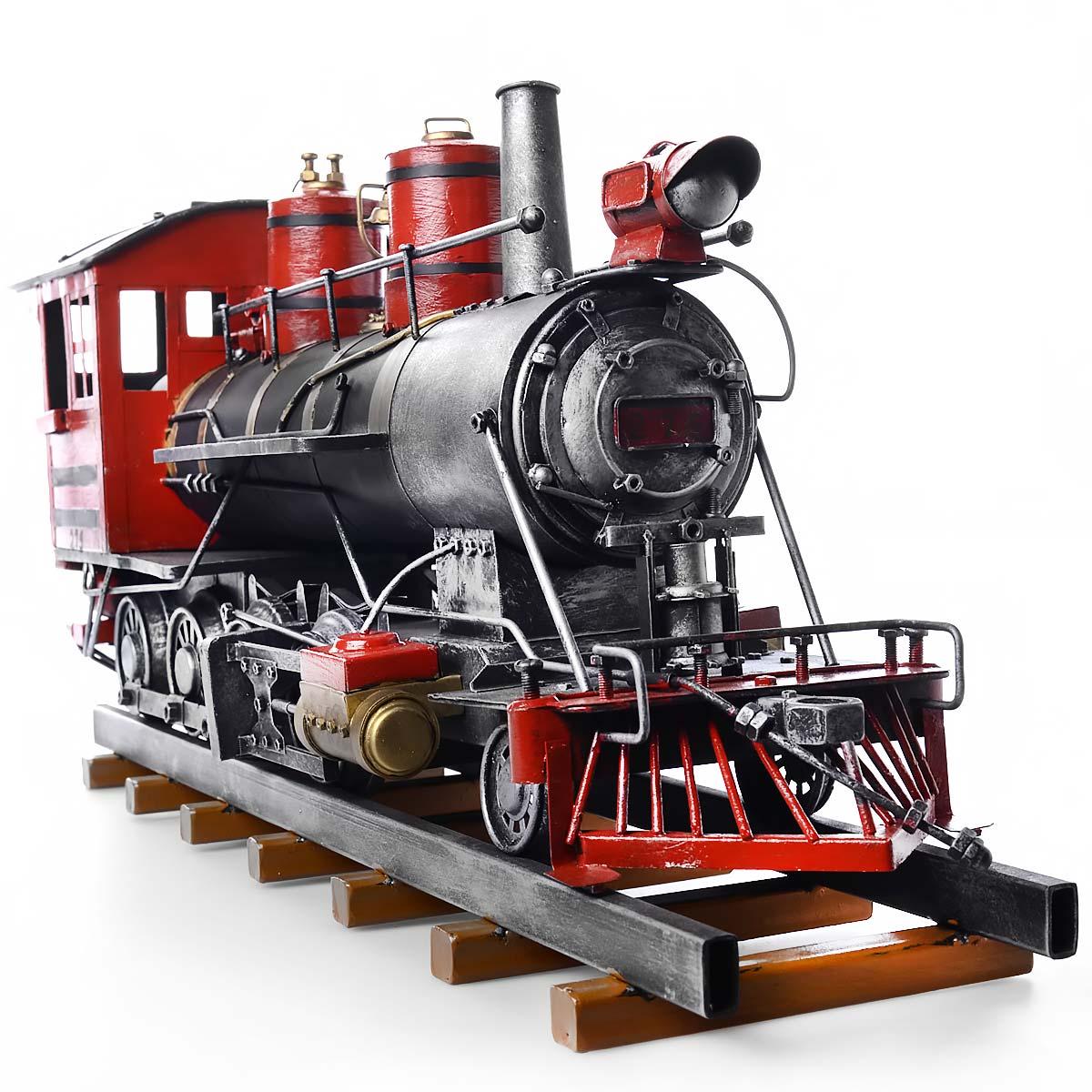 Vintage χειροποίητο διακοσμητικό τρένο με βαγόνι μεταλλικό - OEM 51614