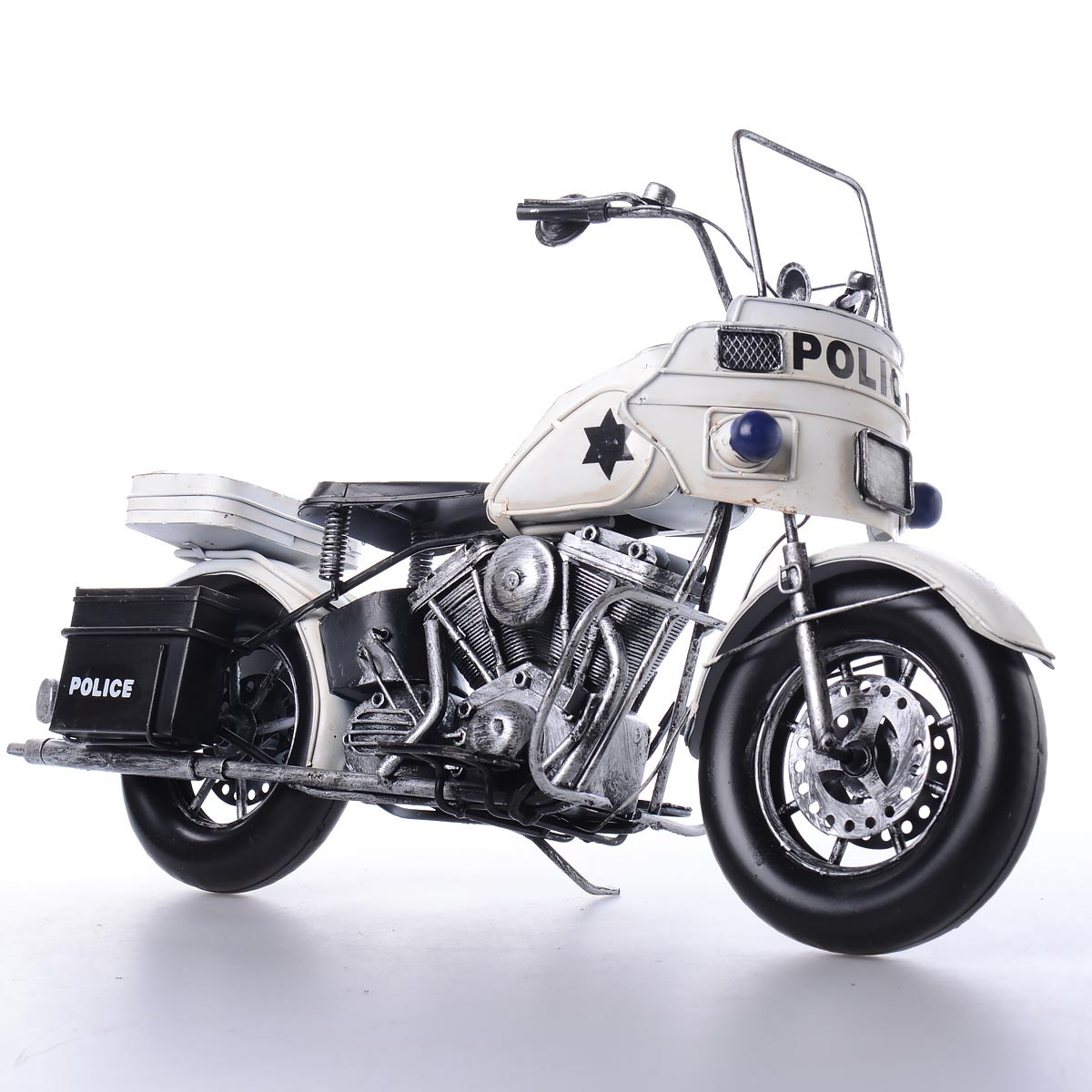 Vintage χειροποίητη διακοσμητική μοτοσυκλέτα αστυνομίας μεταλλική - OEM 51646