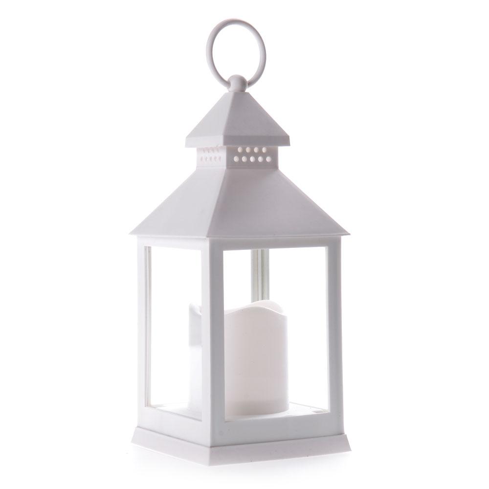 Διακοσμητικό φαναράκι με LED κερί μπαταρίας 10x24cm - Λευκό - OEM 51977