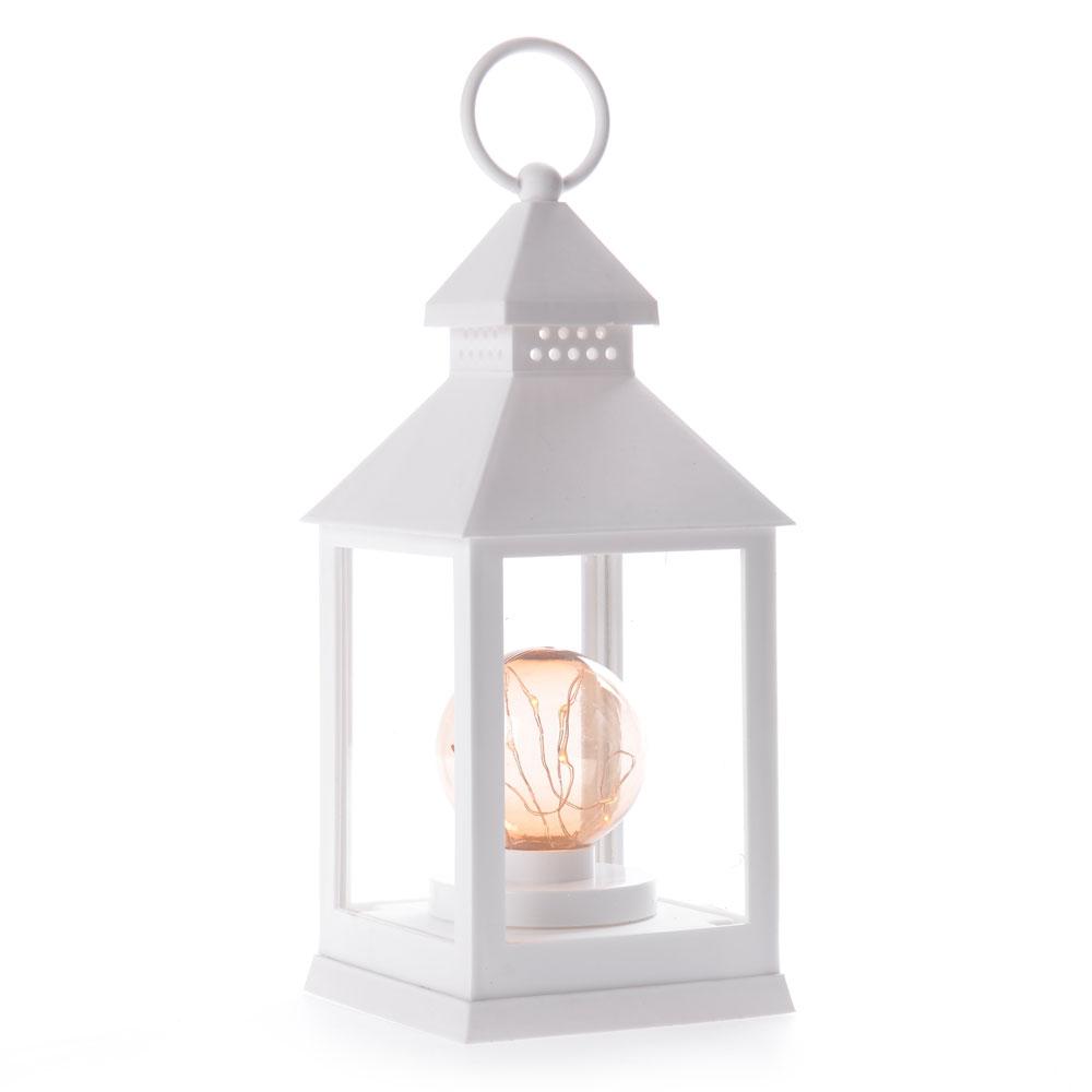 Διακοσμητικό φαναράκι με στρογγυλό λαμπτήρα LED και καλώδιο χαλκού 10x25cm - Λευκό - OEM 51985