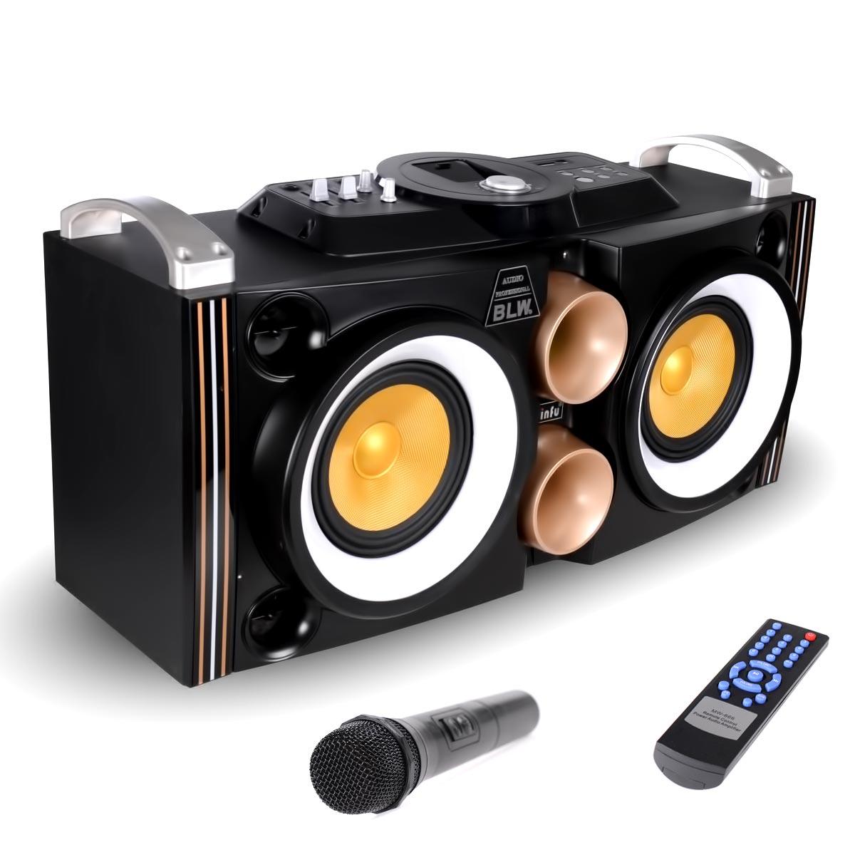 """Αυτο-ενισχυόμενο ηχείο με LED 10"""" 80W με Bluetooth, SD/USB/AUX και 2 μικρόφωνα - M88 - OEM 51999"""