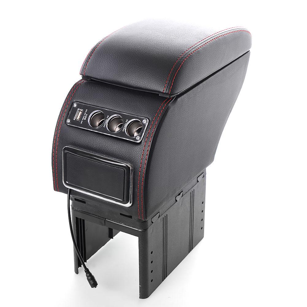 Κονσόλα χειροφρένου - universal τεμπέλης αυτοκινήτου με USB και 3 θύρες αναπτήρα - Μαύρο - OEM 52011