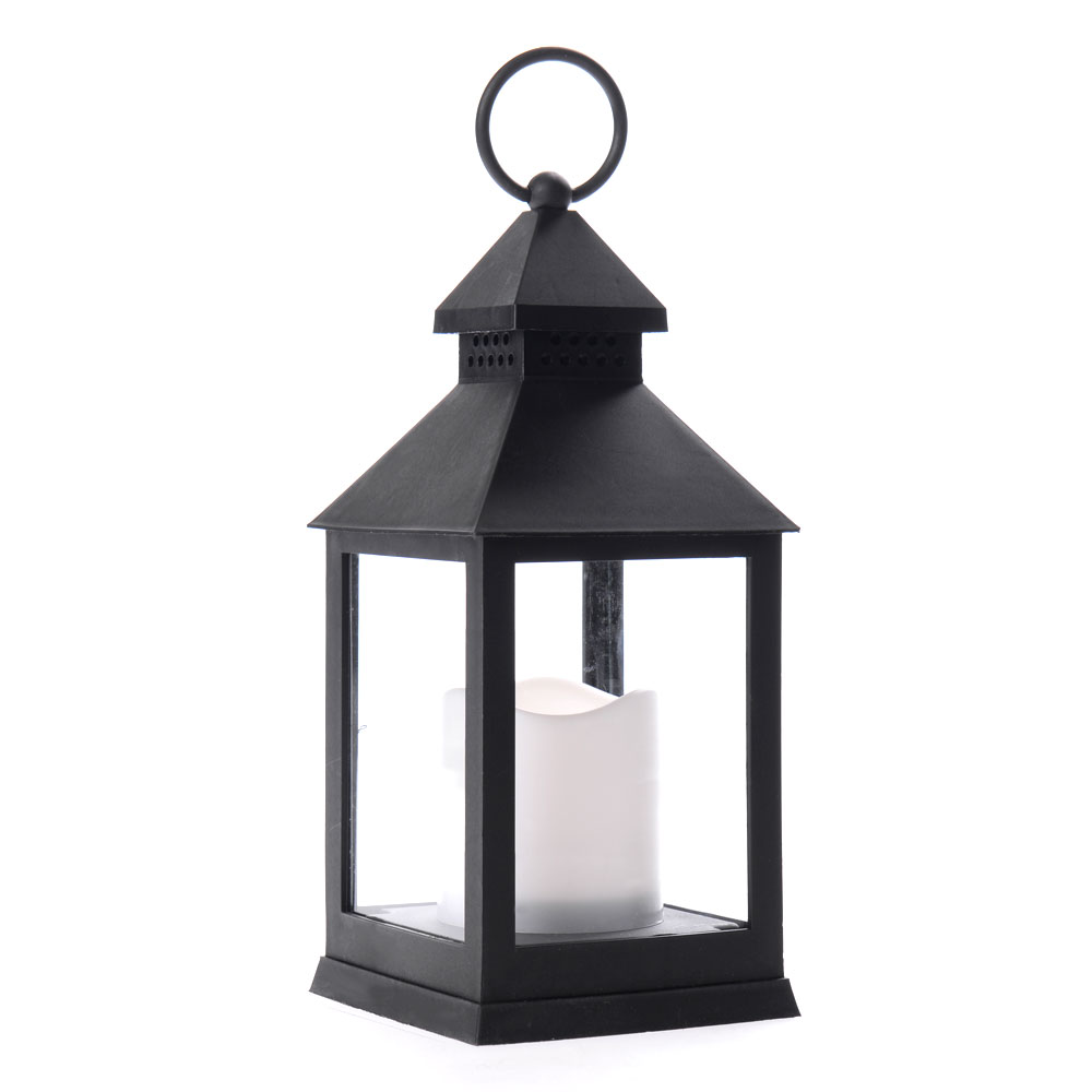 Διακοσμητικό φαναράκι με LED κερί μπαταρίας 10x24cm - Μαύρο - OEM 52050