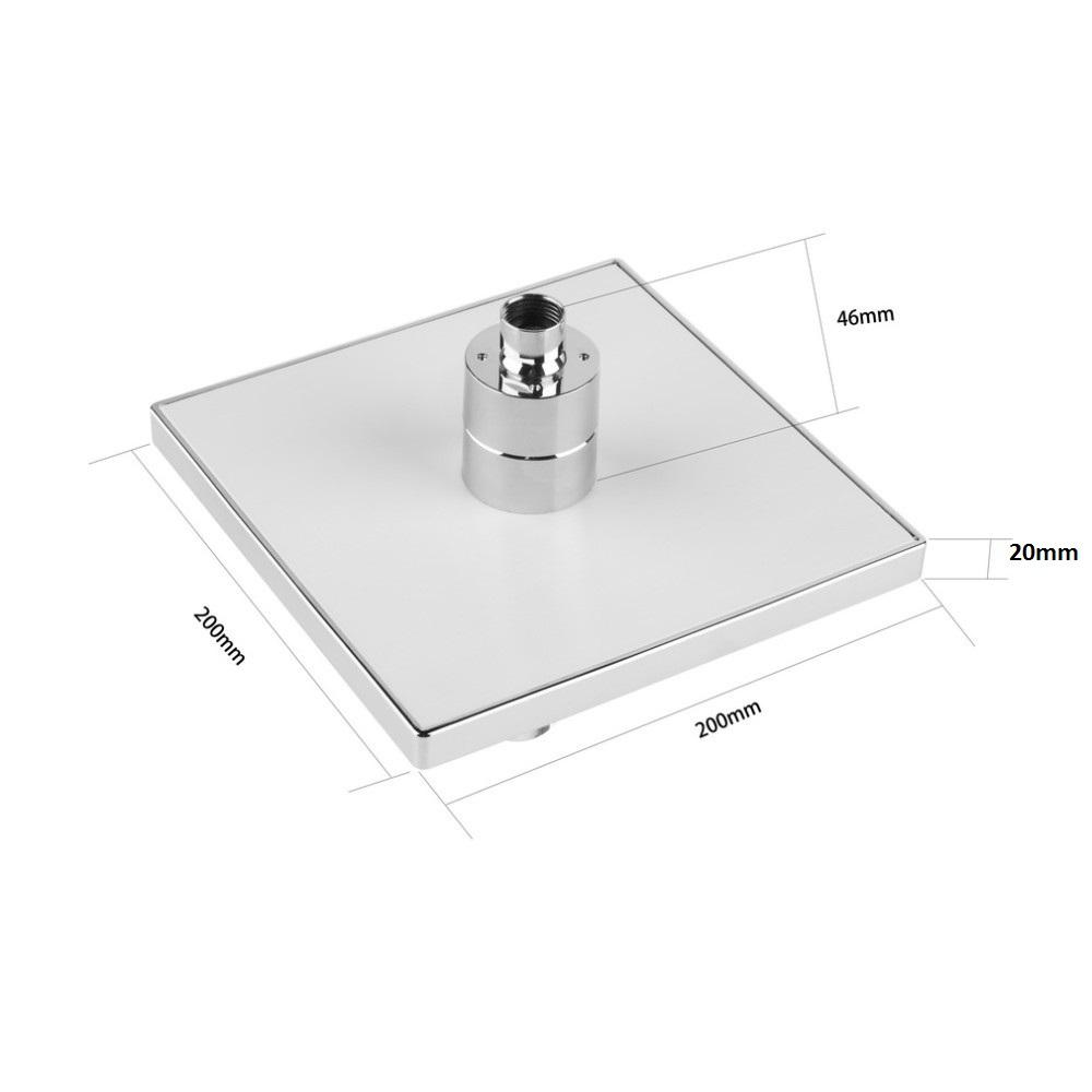 Τετράγωνη κεφαλή ντους 20x20cm με led που αλλάζει χρώμα ανάλογα με τη θερμοκρασία - OEM 52187