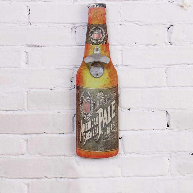 Vintage διακοσμητική πινακίδα ξύλινη σε σχήμα μπουκαλιού με ανοιχτήρι - American Brewery - OEM 52238
