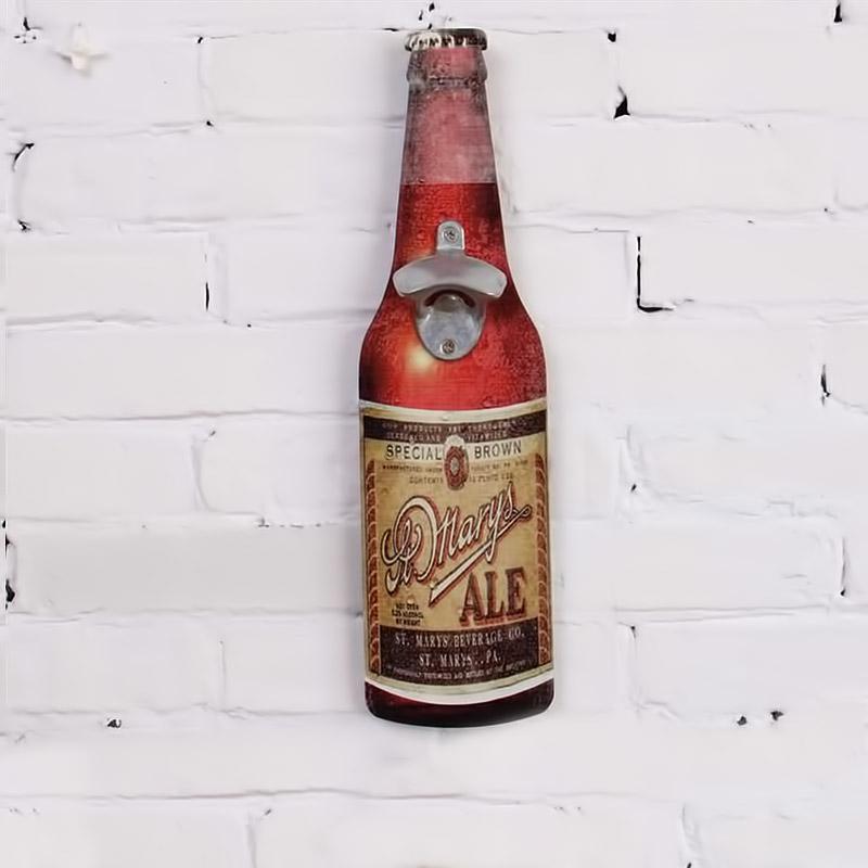 Vintage διακοσμητική πινακίδα ξύλινη σε σχήμα μπουκαλιού με ανοιχτήρι - Mary's Ale - OEM 52239