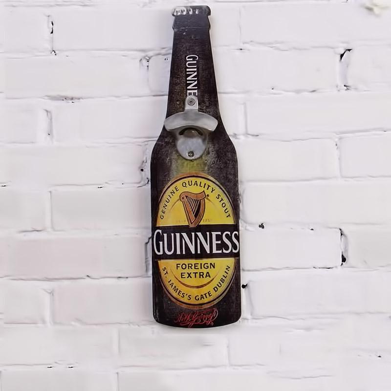Vintage διακοσμητική πινακίδα ξύλινη σε σχήμα μπουκαλιού με ανοιχτήρι - Guiness - OEM 52241