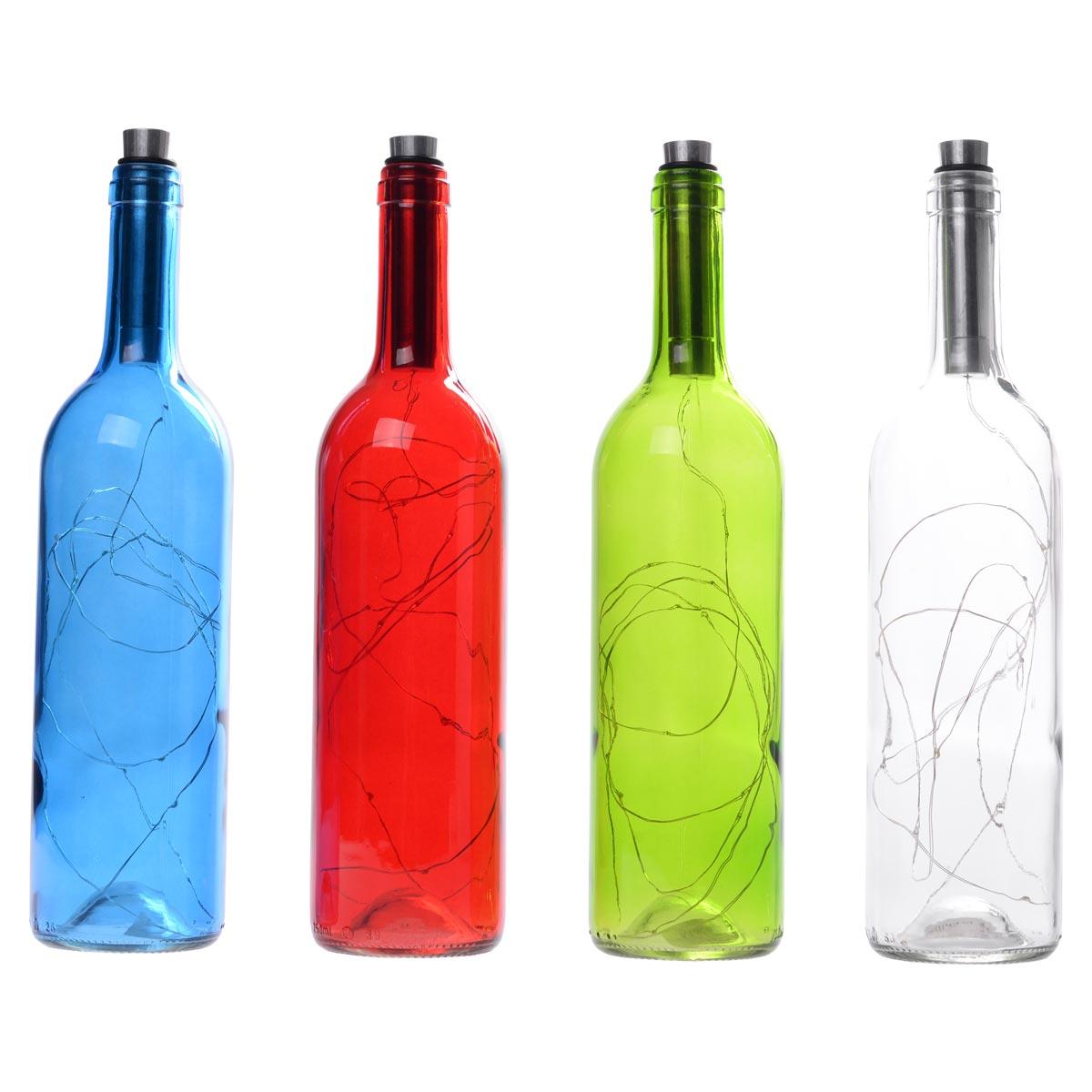 Διακοσμητικό φωτιστικό σε μπουκάλι κρασιού με LED φωτισμό - Γαλάζιο - OEM 52262