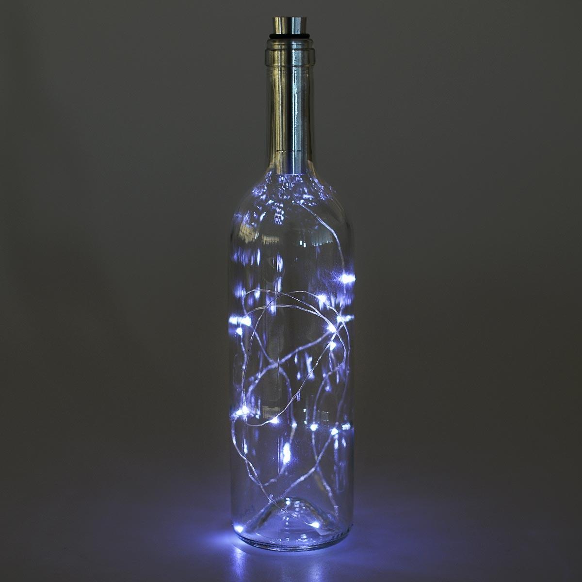 Διακοσμητικό φωτιστικό σε μπουκάλι κρασιού με LED φωτισμό - Διάφανο - OEM 52264