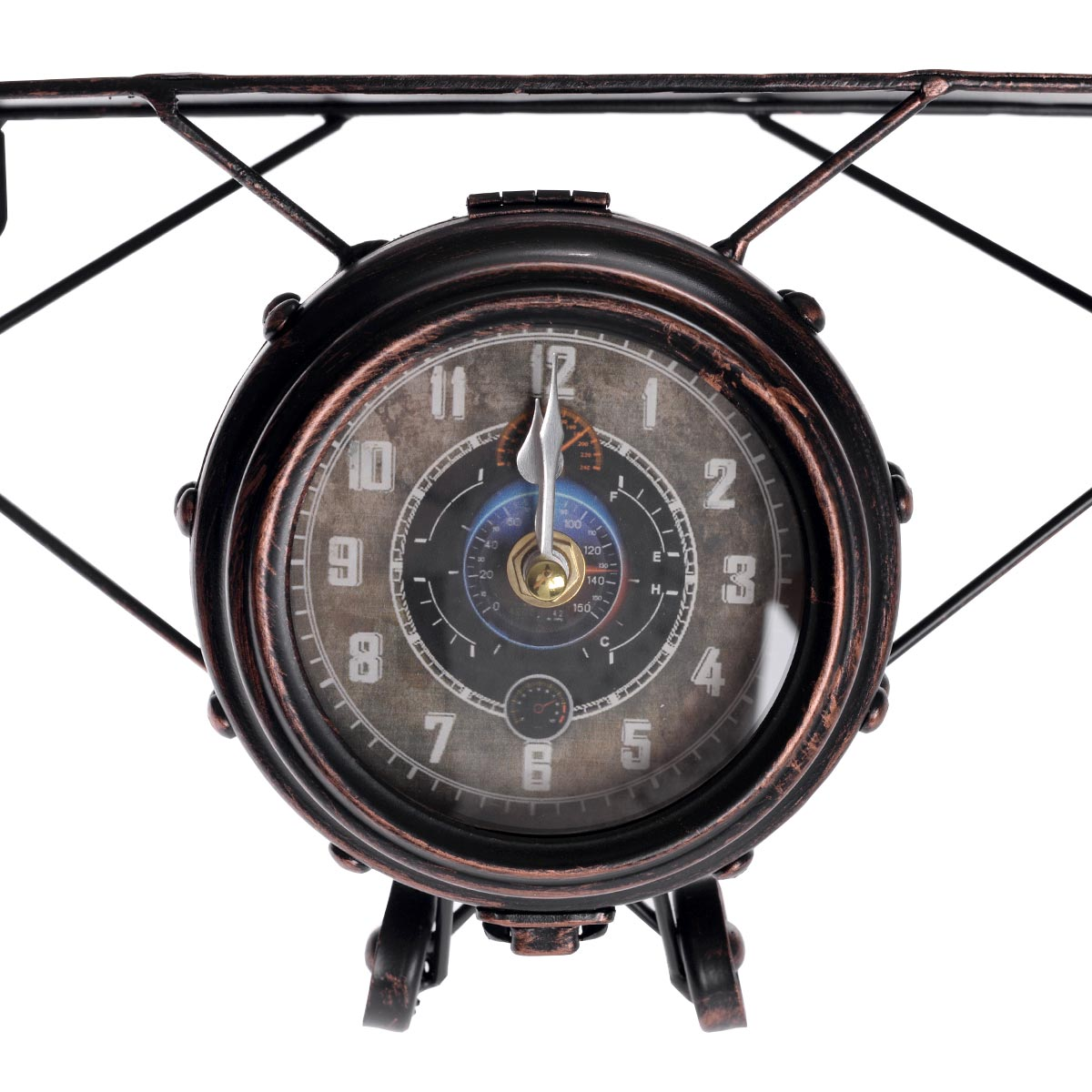 Vintage χειροποίητο διακοσμητικό ρολόι - αεροπλάνο μεταλλικό - ΟΕΜ 52317