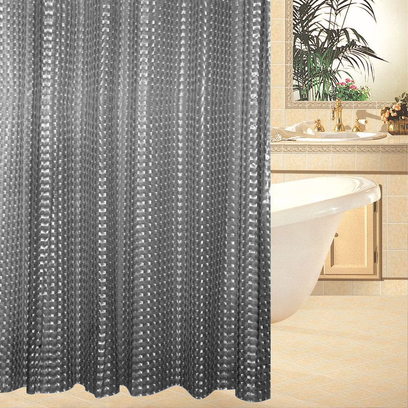 Κουρτίνα μπάνιου EVA 3D με ημιδιαφάνεια και 12 κρίκους 180 x 180cm - Smoke Black - OEM 52321