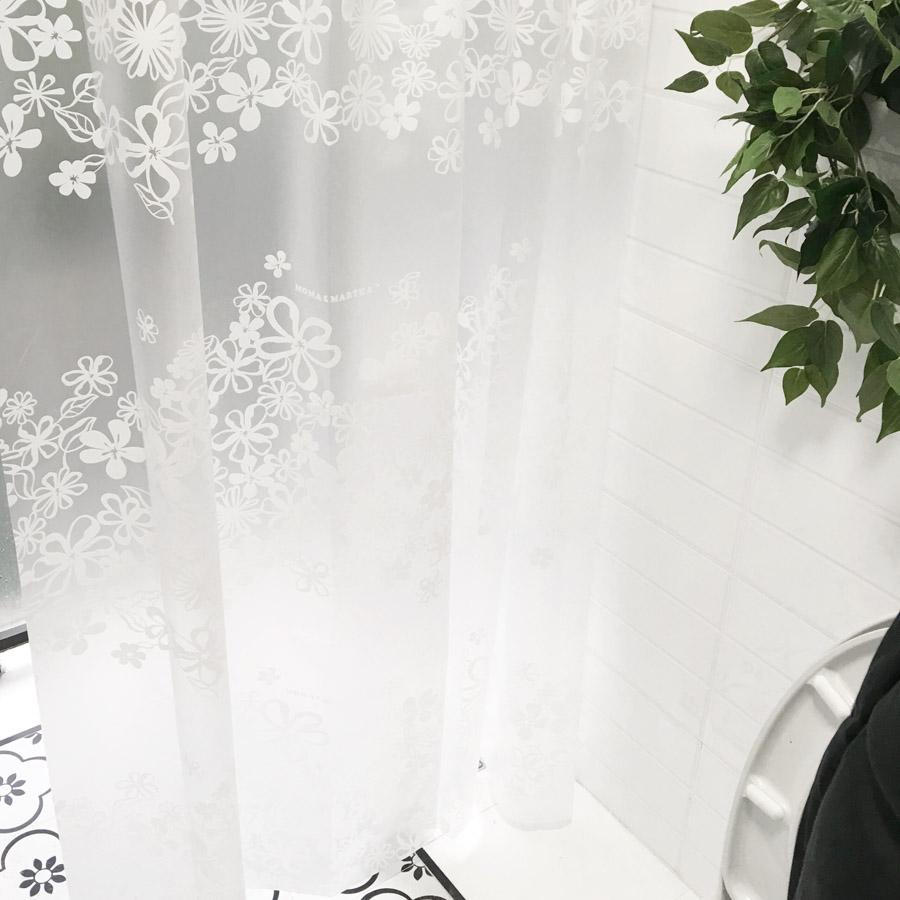 Κουρτίνα μπάνιου EVA με ημιδιαφάνεια και 12 κρίκους 180 x 180cm - White Flower - OEM 52322