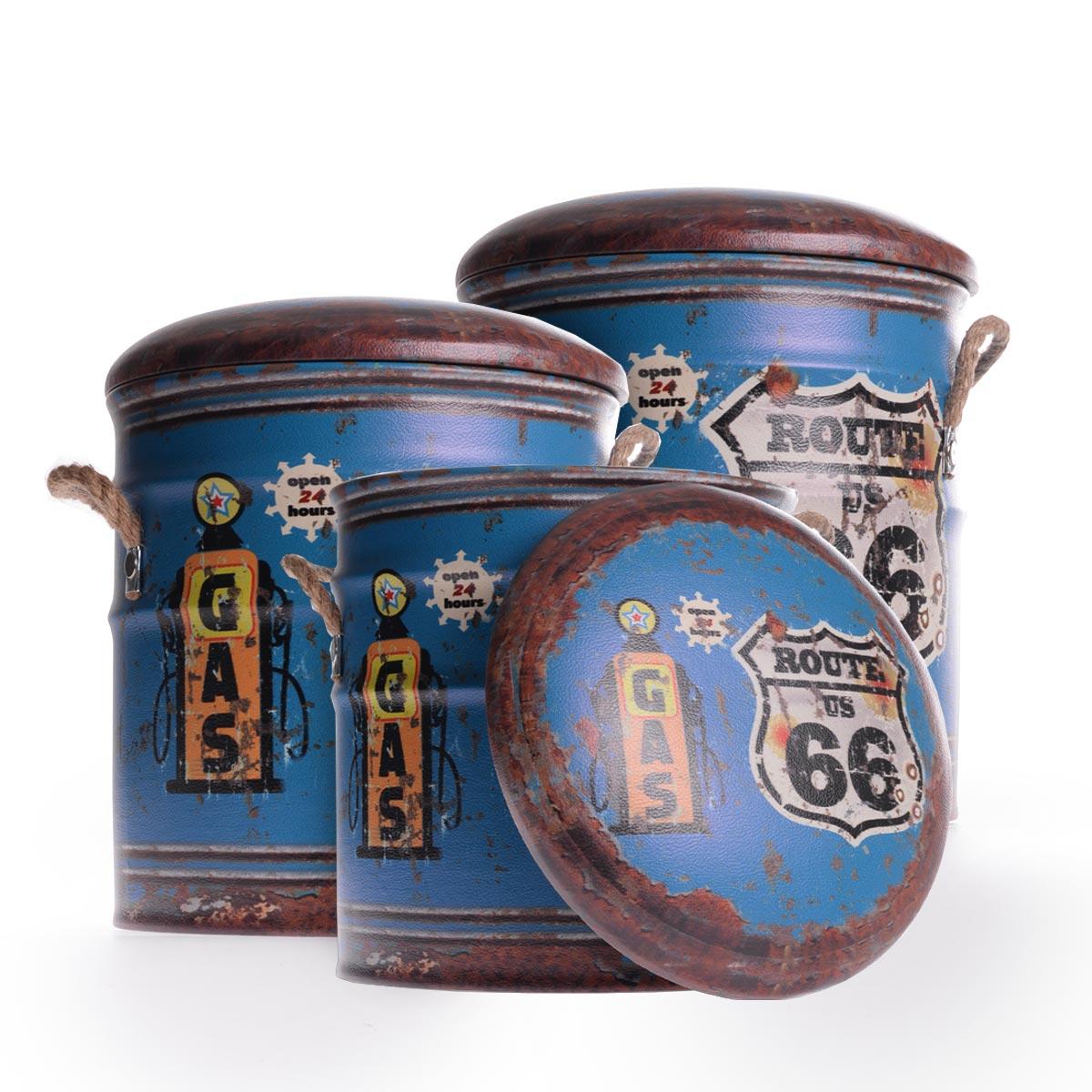 "Vintage διακοσμητικά σκαμπώ με χώρο αποθήκευσης ""Blue Route 66"" - Σετ 3 τεμαχίων - OEM 52355"