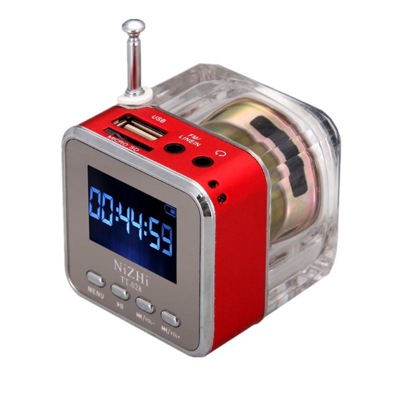 Μίνι φορητό ηχείο 3W με ρολόι, ραδιόφωνο και είσοδο USB/SD/AUX - Red - Sardine TT028 - 52425