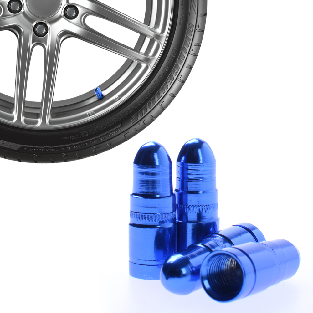 Σετ καπάκια βαλβίδας ελαστικών - 4 τεμάχια κωνικά - LA-402 - Μπλε - Carsun 52546