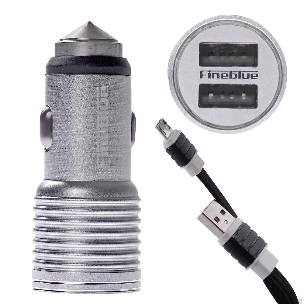 Ταχυ-φορτιστής αυτοκινήτου Fineblue FRS-7 με 2 θύρες USB 2.4A και καλώδιο microUSB - Ασημί - 52586