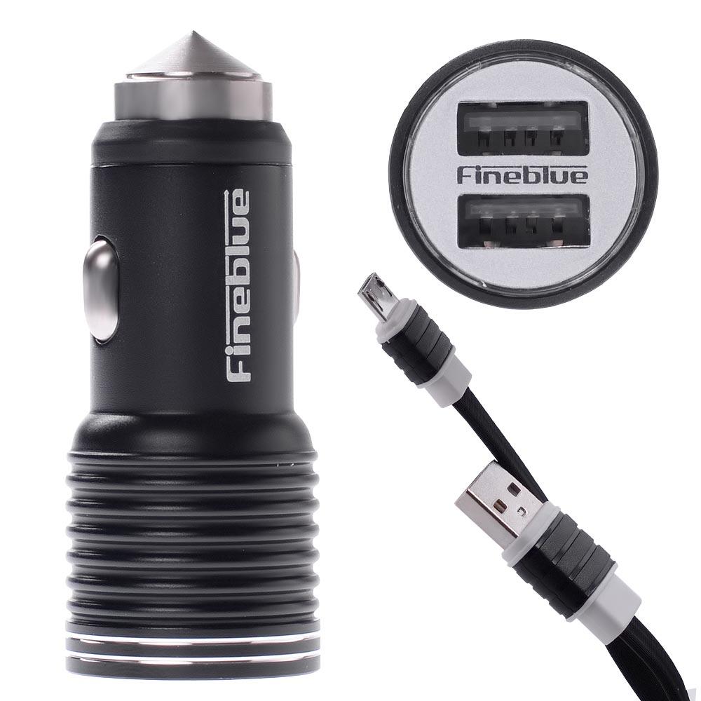 Ταχυ-φορτιστής αυτοκινήτου Fineblue FRS-7 με 2 θύρες USB 2.4A και καλώδιο microUSB - Μαύρο - 52588