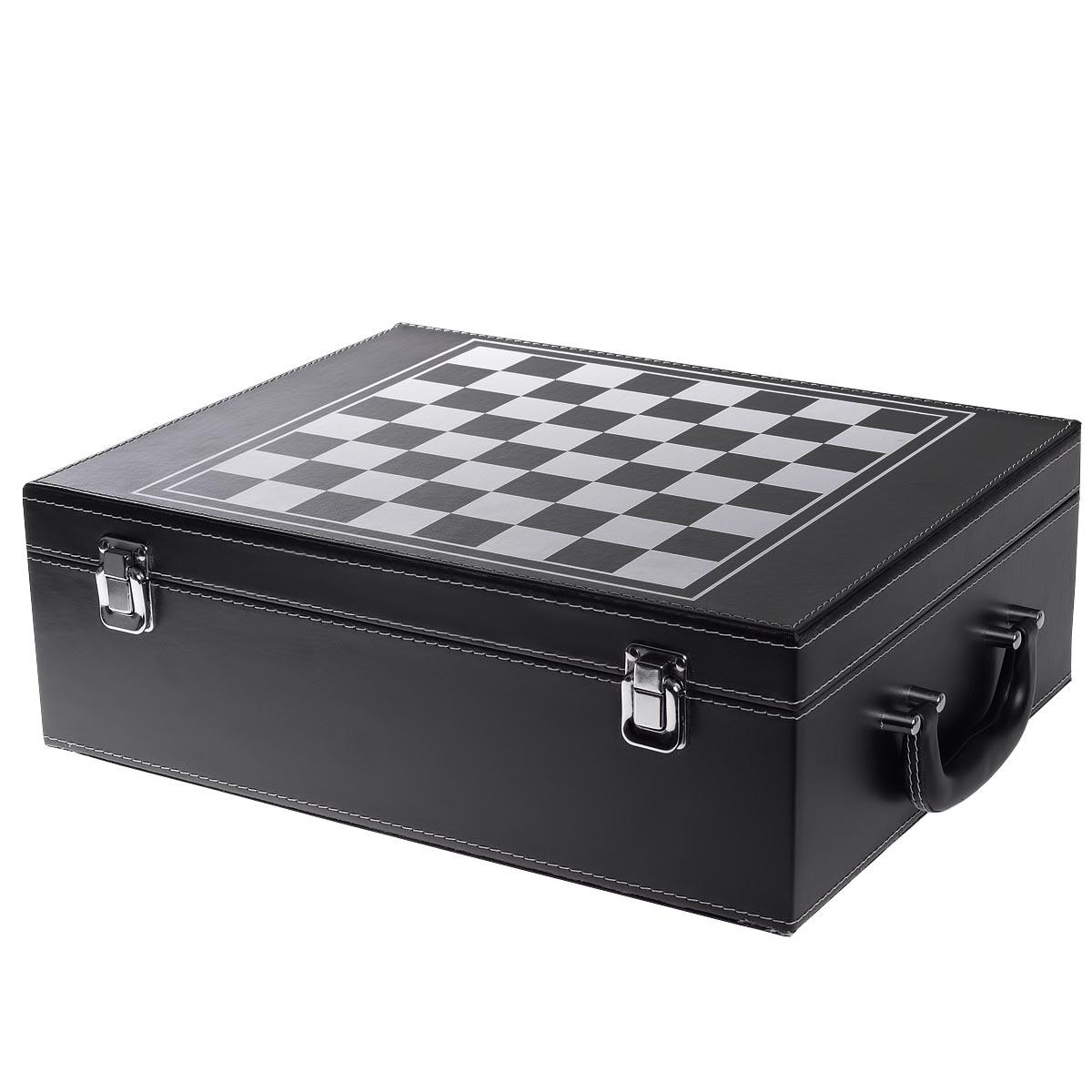 Πολυτελής βαλίτσα με σετ κρασιού 4 τεμαχίων και σκάκι - OEM 52619