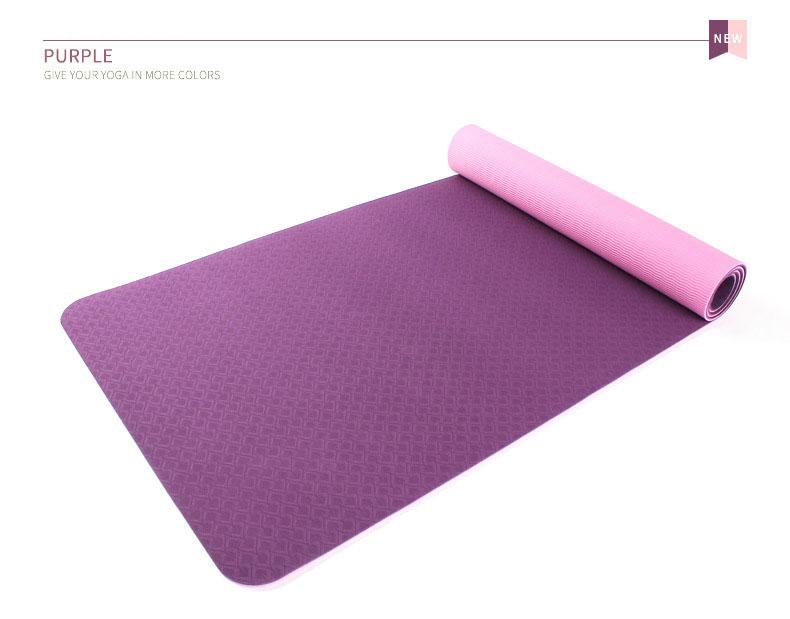 Υπόστρωμα γυμναστικής TPE 6mm για ασκήσεις yoga και pilates - Μωβ - OEM 52684