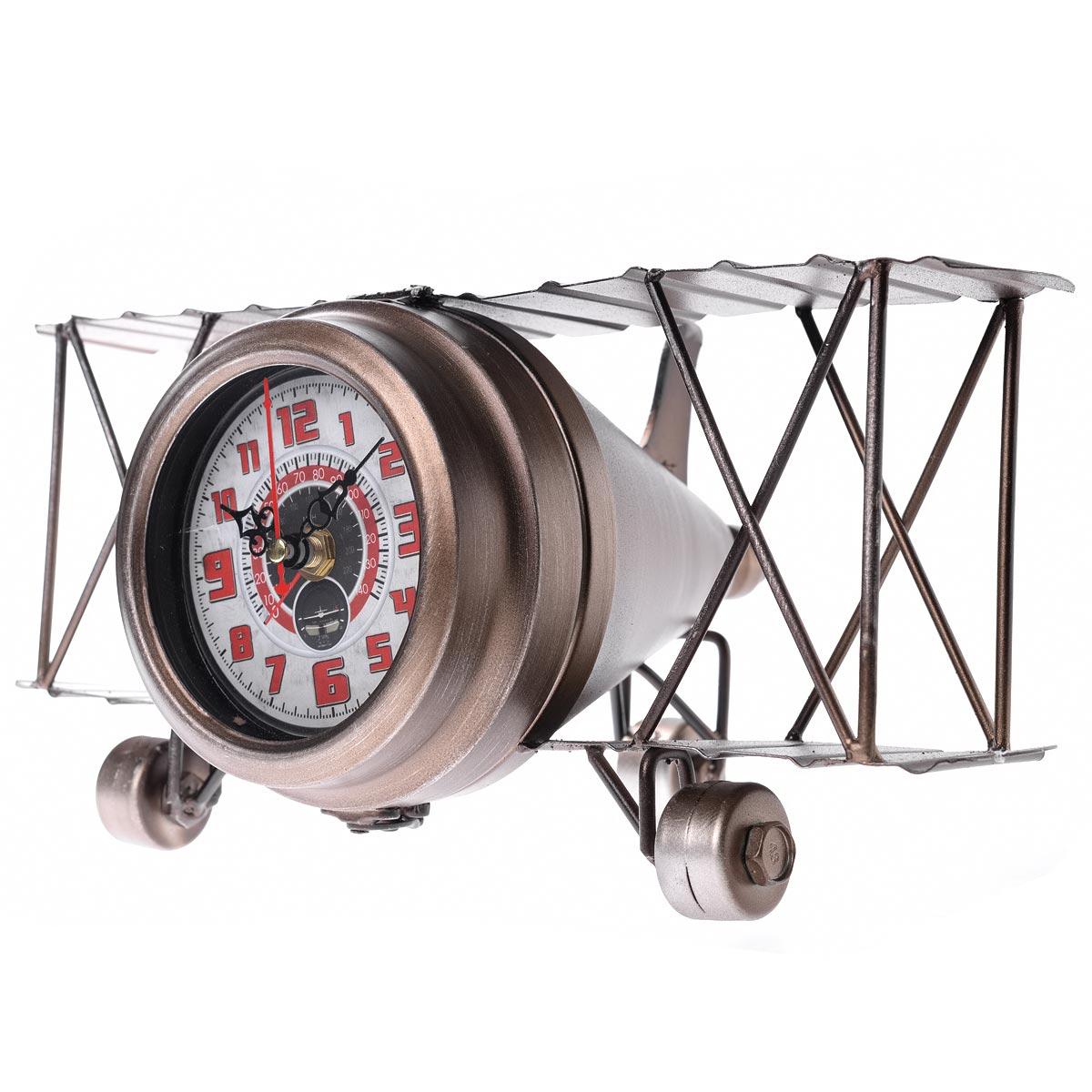 Vintage χειροποίητο διακοσμητικό ρολόι - αεροπλάνο μεταλλικό - OEM 52732