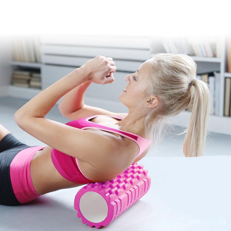 Κύλινδρος EVA ισορροπίας και μασάζ yoga-pilates roller - Ροζ - OEM 52748