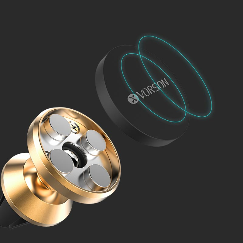 Μαγνητική βάση στήριξης κινητού για τον αεραγωγό του αυτοκινήτου - Μαύρο - Vorson VH-007 - 52849