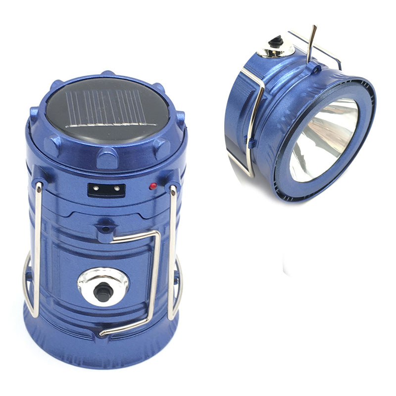 Φορητό ηλιακό φανάρι - φακός LED για κάμπινγκ 300Lm - Μπλε - OEM 53087