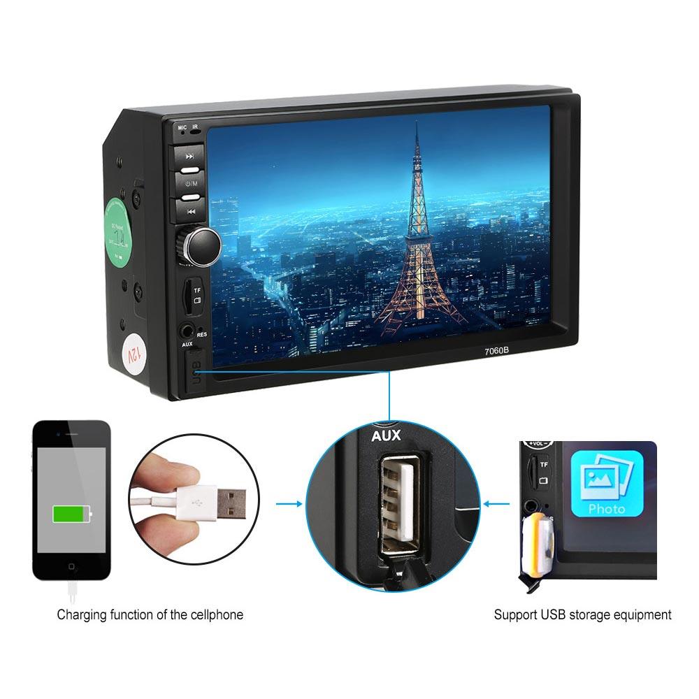 """Ηχοσύστημα MP5 με LCD οθόνη αφής 7"""", Bluetooth, ραδιόφωνο και χειριστήριο - 7060B - OEM 53379"""