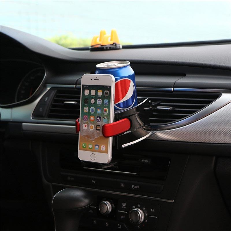 Ποτηροθήκη για τον αεραγωγό του αυτοκινήτου με βάση στήριξης smartphone - Μαύρο/Κόκκινο - OEM 53466